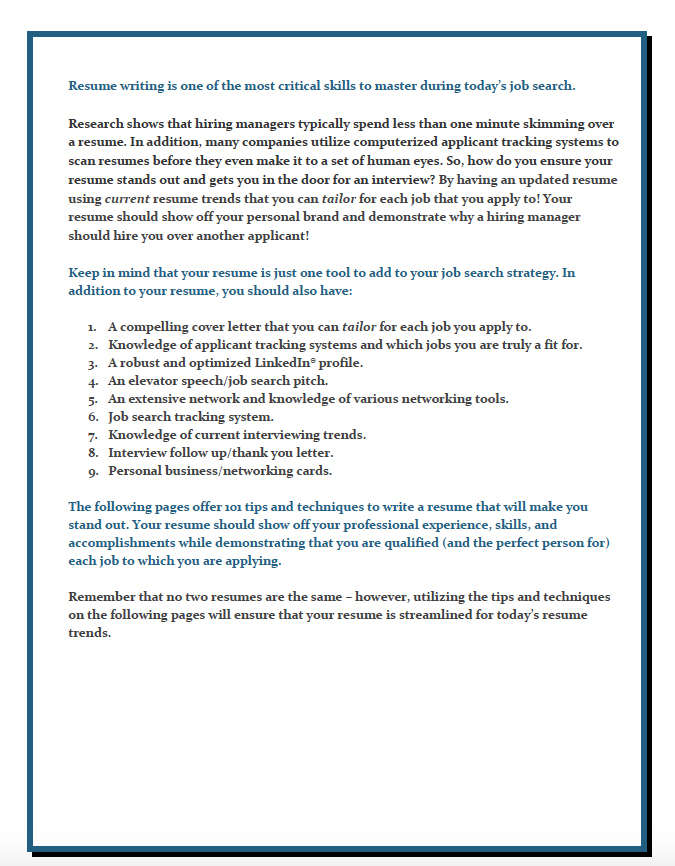 Resume Writing U2013 101 Tips And Techniques  Tips For Resume Writing