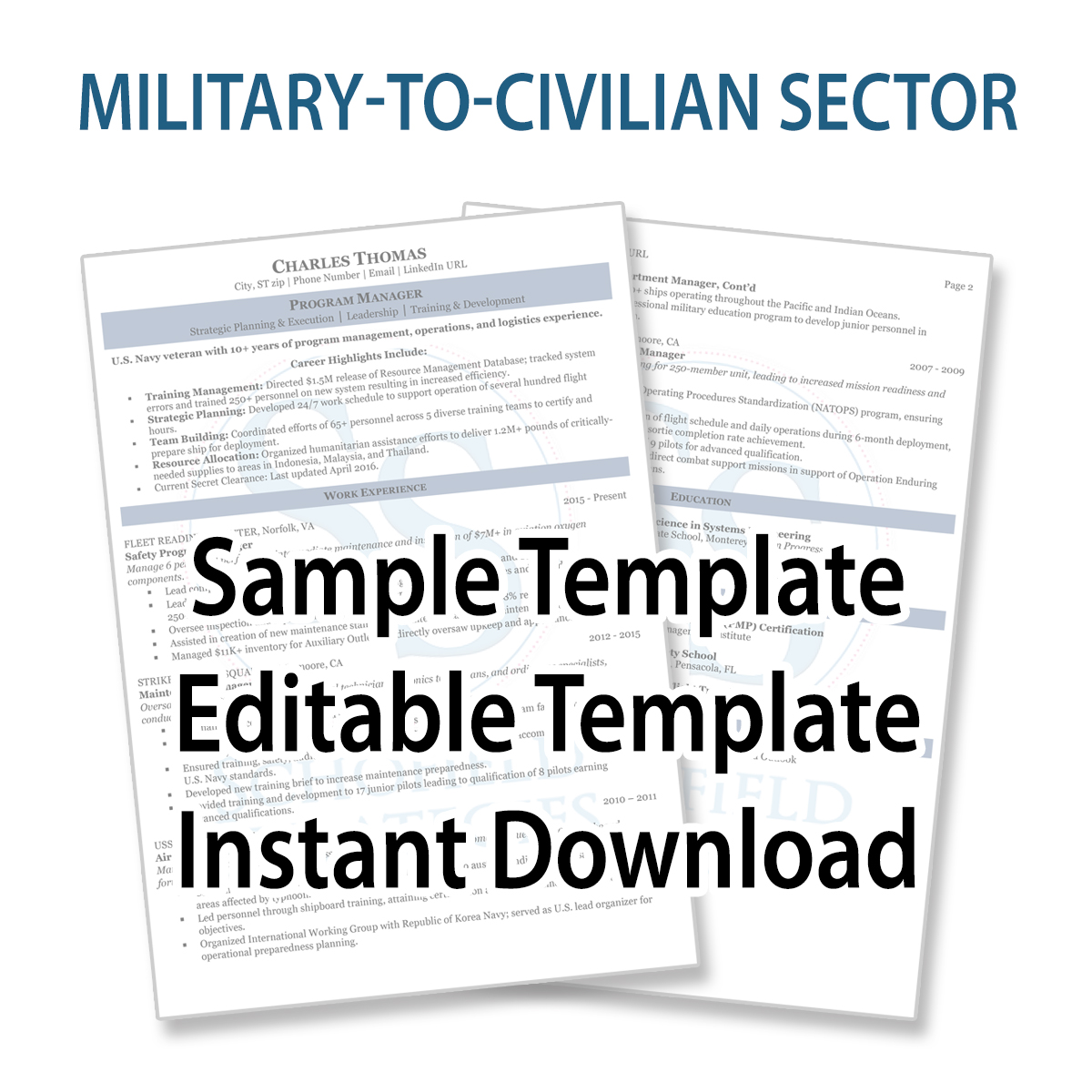 military to civilian sector resume sample and template