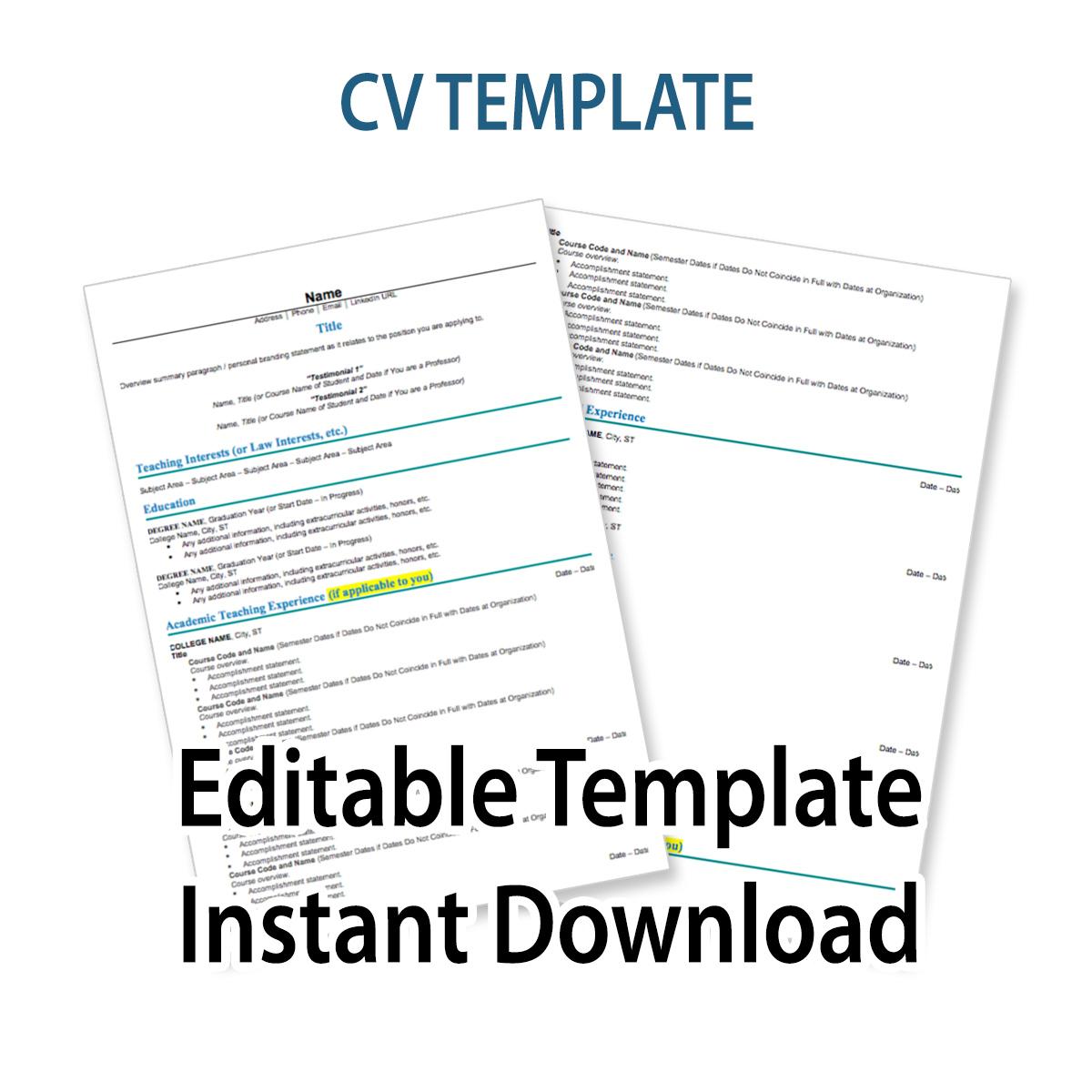 CV Template  Resume Writing 101